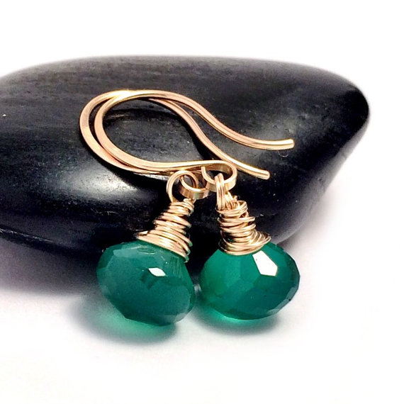Green Onyx Gold Drop Earrings Filled Emerald Gemstone Uk