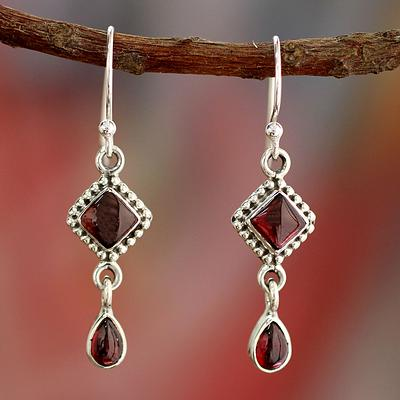 Natural Garnet And Sterling Silver Earrings Indian Jewelry Fire Of Love