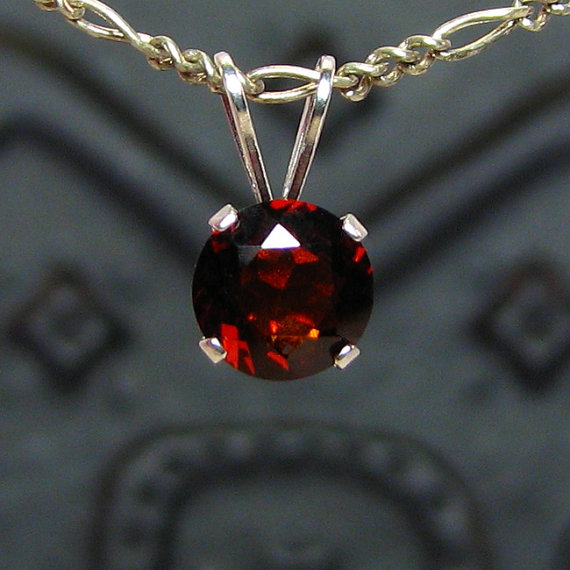 Red garnet pendant sterling silver round pendant falak gems red garnet pendant sterling silver round pendant mozeypictures Gallery