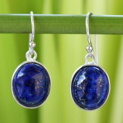 73a3a1920 Thai Sterling Silver and Lapis Lazuli Earrings, 'Majestic Blue ...