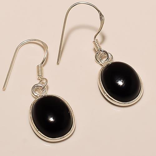 Plain Sterling Silver Black Onyx Earring