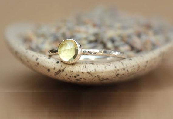 Rose cut silver ring Lemon Quartz
